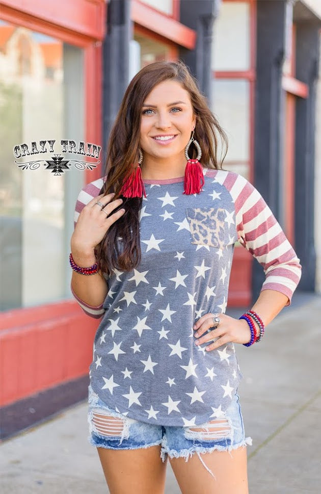 Reagan Raglan American Flag Top