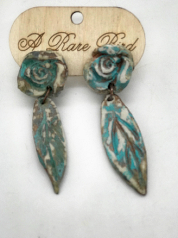 Hand-made Rose Leaf Earrings Jewelry