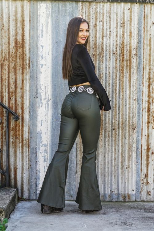 Olive Faux Leather Bell Bottom Pants Bottoms