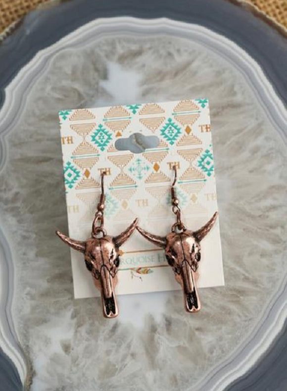 Copper Bullhead Western Boho Earrings
