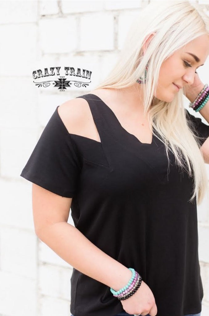 Black Camino Cut Out Tee Top