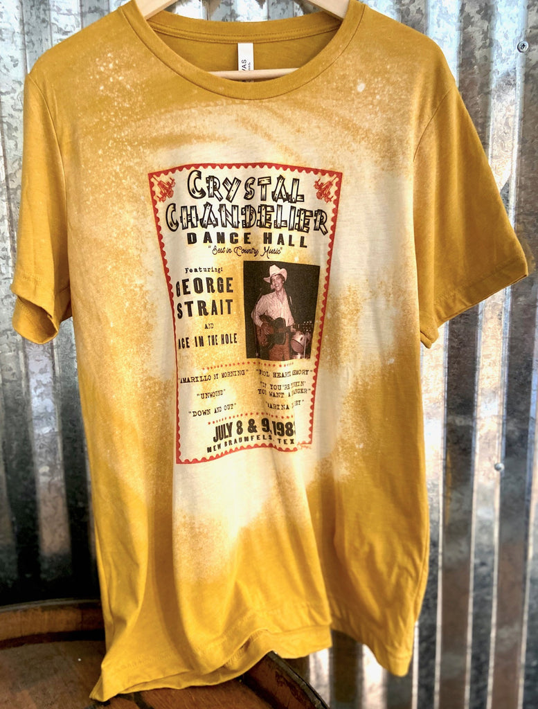 New! George Strait at the Crystal Distressed Mustard T-Shirt Top