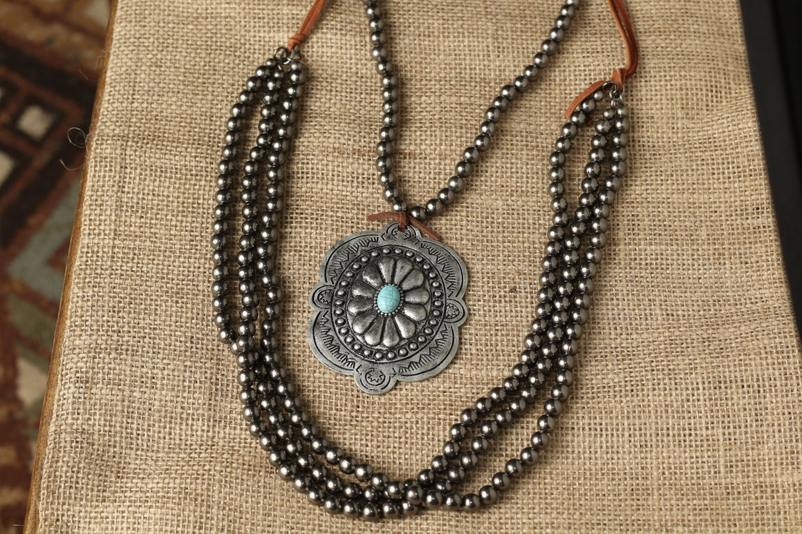 Silver Stamped Concho Western Necklace