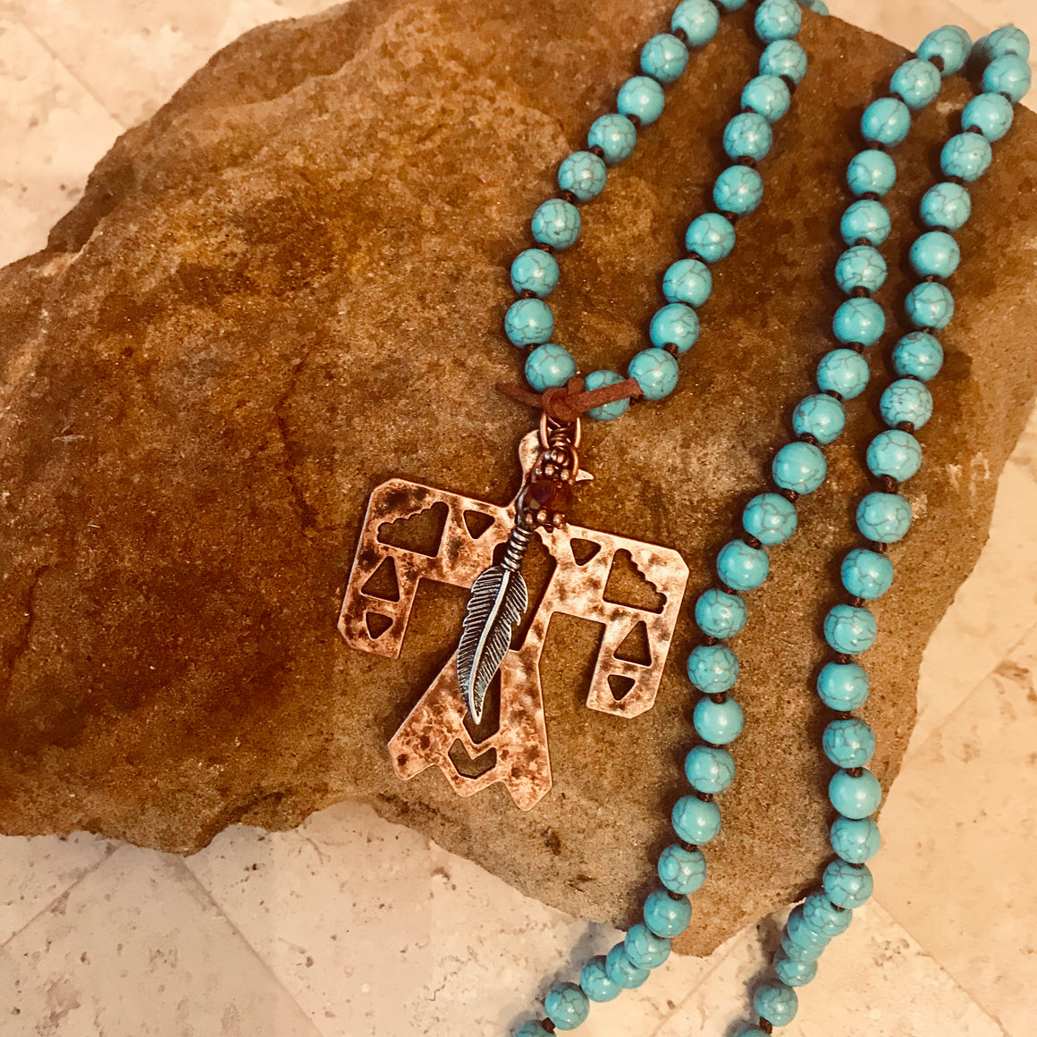 Copper Thunderbird Turquoise Bead Necklace
