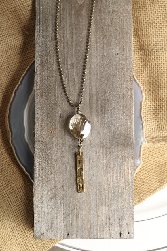 AG Crystal Faith Drop Necklace