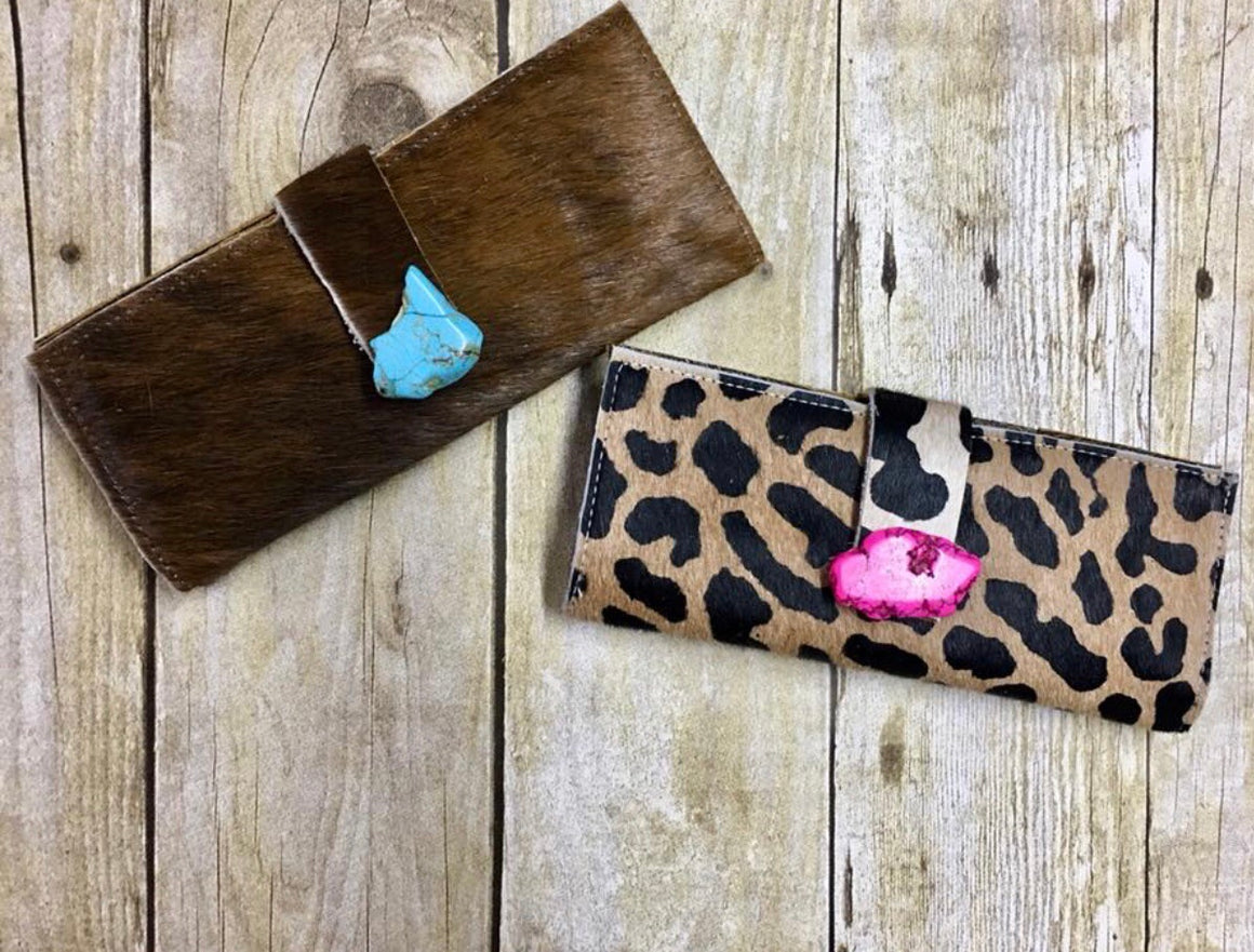 Leather & Leopard Hair On Western Wallet Clutches Handbags