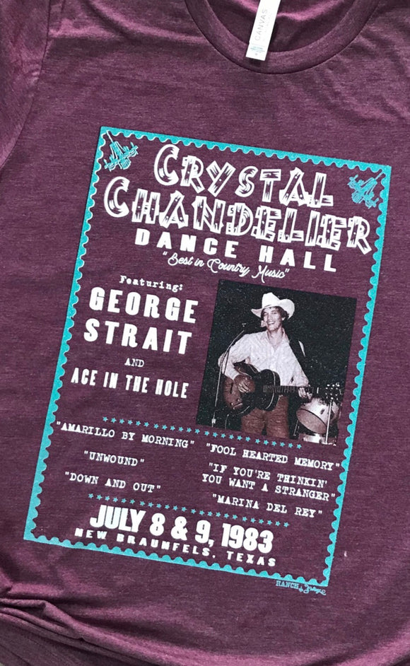George Strait at the Crystal Chandelier Maroon T-shirt Top