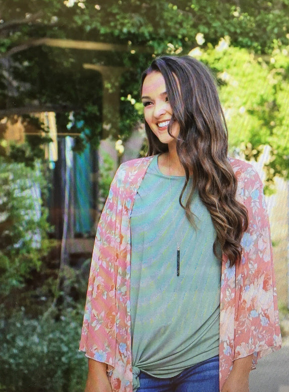 Rose Floral Western Boho Kimono Cover-up Tops
