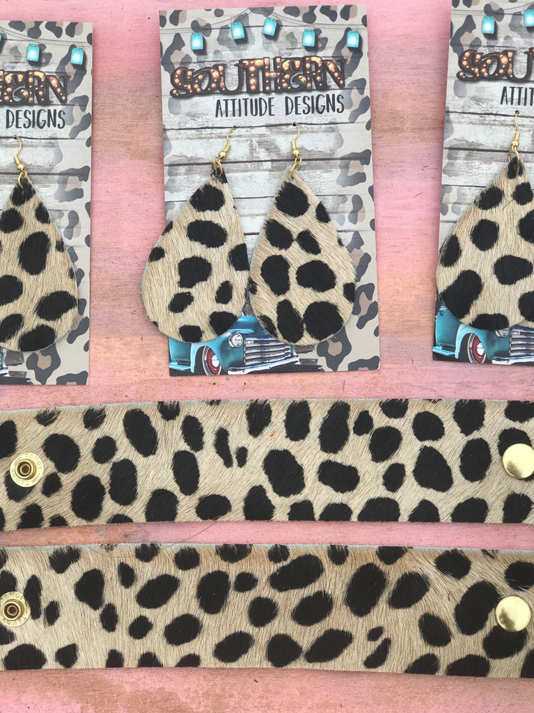 Hair On Leopard Cowhide Spots Bracelets