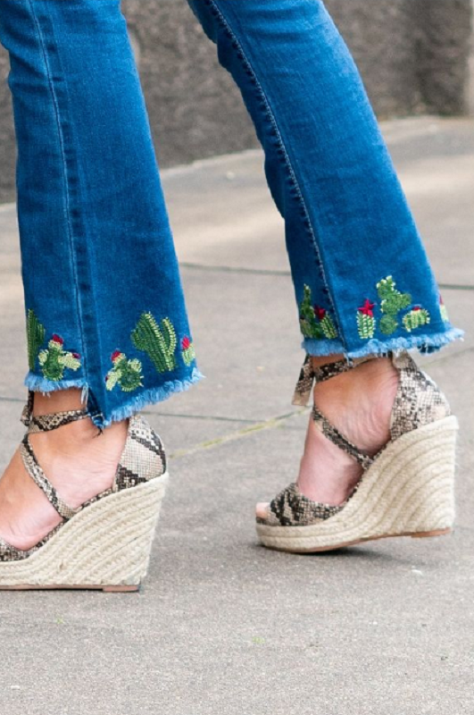 Mid Wash Cactus Embroidery Ankle Flare Jeans