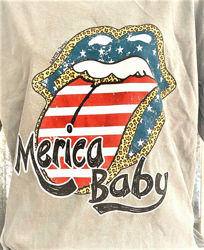 Merica Baby Lips Graphic T-shirt Tee