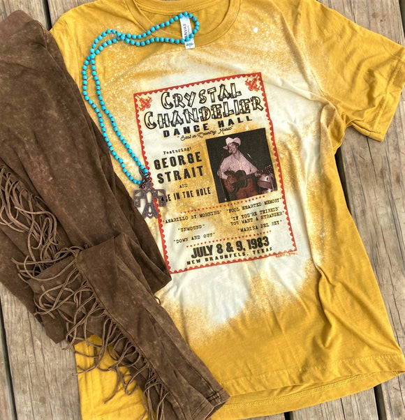 New! George Strait at the Crystal Bleached Mustard T-Shirt Top