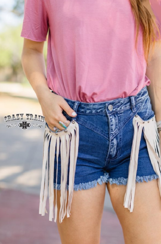 Tally Fringe Denim Shorts Bottoms