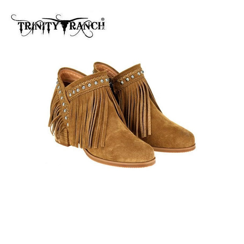 Trinity Ranch Fringe Western Boots Booties