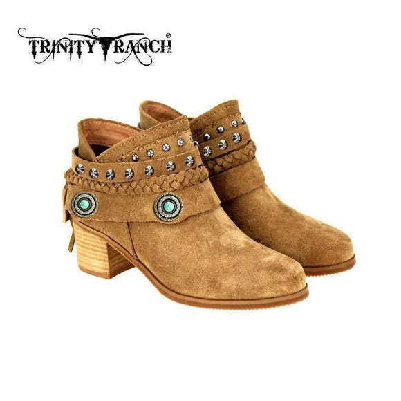 Trinity Ranch Western Turquoise Stud Booties Boots