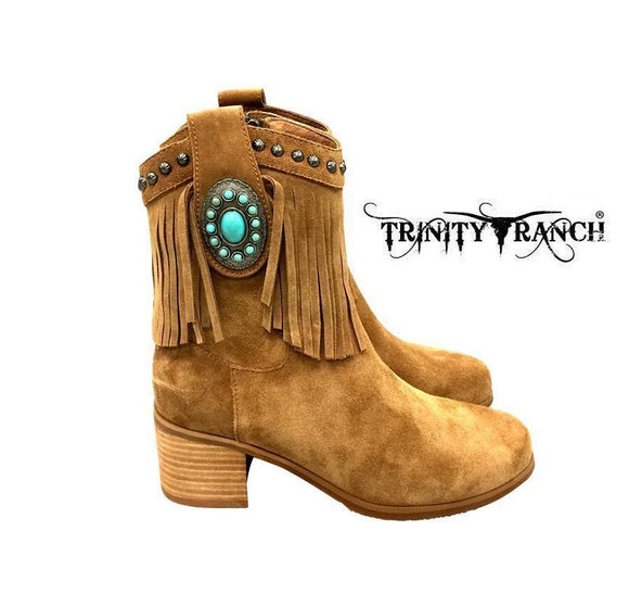 Trinity Ranch Western Booties Fringe Boots