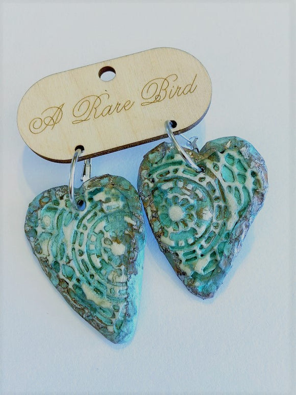 Hand-carved Soldered Heart Earrings
