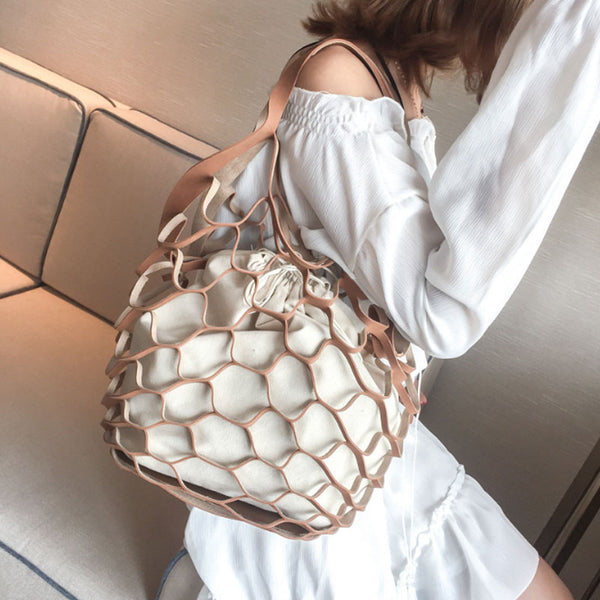 Net Drawstring Combination Shoulder Bag