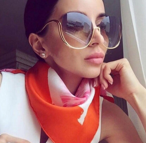 Rimless Gradient Oversized Sunglasses