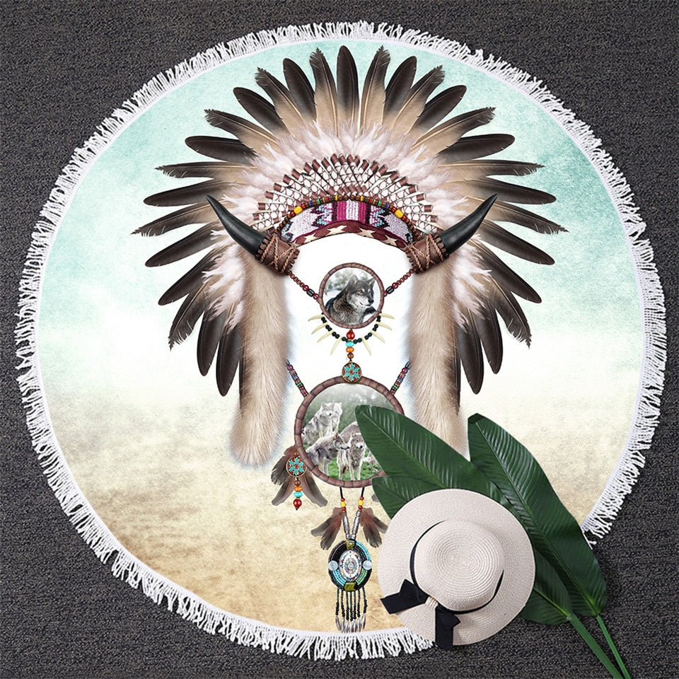 97cab1976b1d0 BlessLiving Wolf Dreamcatcher Tapestry Indian Feather Beads Round Beach  Towel Toalla Sunblock Blanket Boy Western Yoga