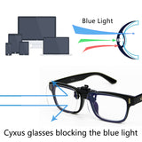 2 pack Blue Light Blocking Clip On Glasses Rectangle Clear Lenses 8099T44 Clip On Computer Glasses cyxus