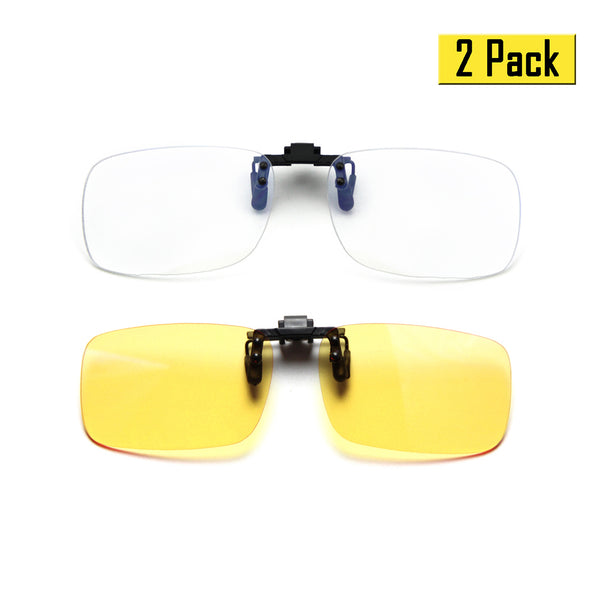 2 Pack Blue Light Blocking Clip On Glasses Rectangle Clear & Yellow Lenses Clip On Computer Glasses cyxus