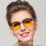 Blue Light Blocking Retro Browline Computer Glasses for Men Women 8056 Yellow Lenses Computer Glasses cyxus