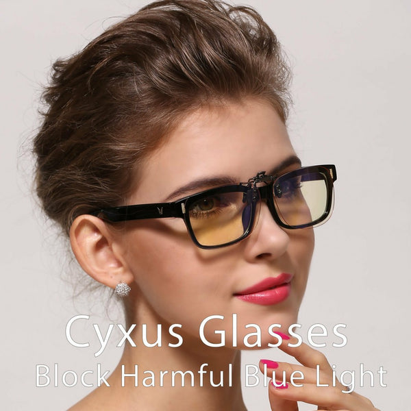 Blue Light Blocking Clip On Glasses Rectangle Amber Lenses 8000L04 Clip On Computer Glasses cyxus