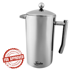 Quality Stainless-Steel French Press Coffee Maker. Heavy Duty. 1 Liter (34 oz).