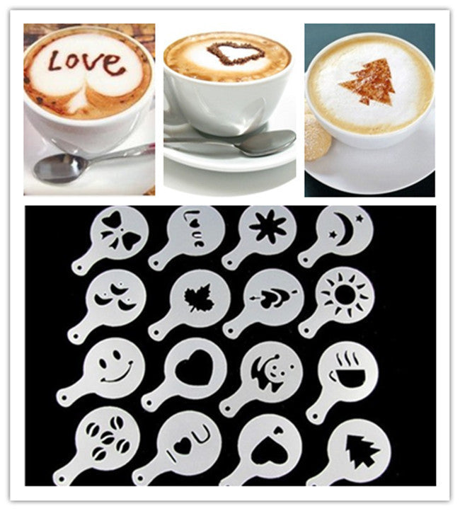 16pcs/set Coffee Latte Cappuccino Barista Art Stencils / Cake Duster Templates