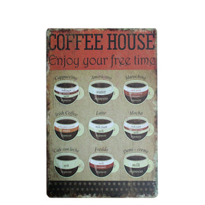Coffee Chic Vintage Metal Signs. Tin Signs Home Decor. 24 different designs! (A4 Size)