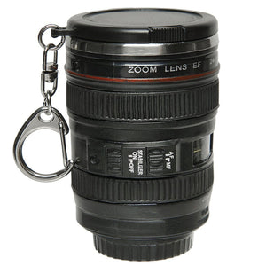 Mini Mini travel cup (Espresso shot size) Camera Lens shape. Stainless Steel with Key Chain.