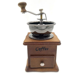 Retro design Manual Coffee Grinder with Wood Stand Bowl & Antique style