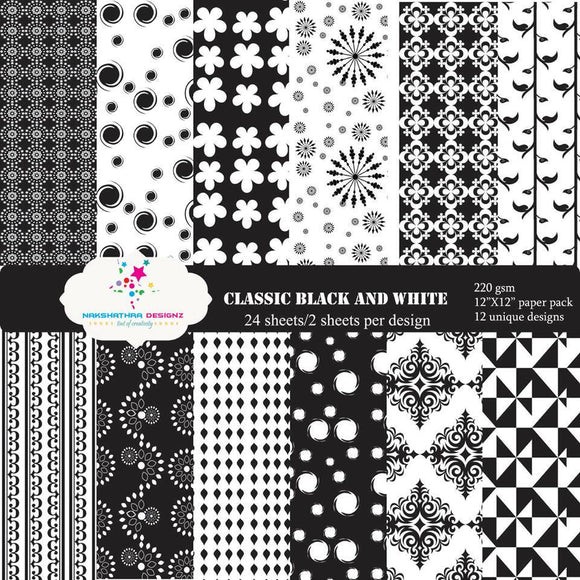 Classic Black & White Pattern Paper 6