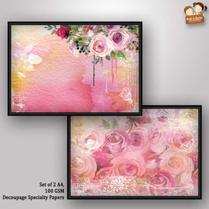 Bob n Betty Decoupage Paper Pink Floral Design