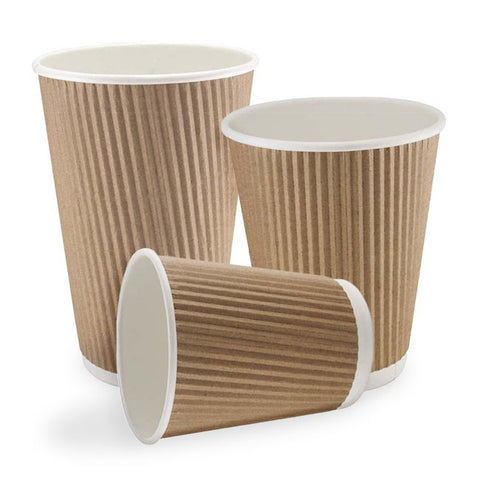 8 OZ  RIPPLE KRAFT PAPER CUPS  X 25