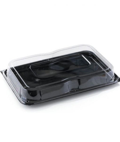 LARGE BLACK PLATTER & CLEAR LIDS 46CM X 30CM X 5