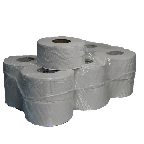 "MINI JUMBO TOILET ROLLS 3"" CORE 2 PLY X 12"