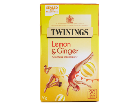TWININGS LEMON & GINGER ENVELOPE TEA X 20