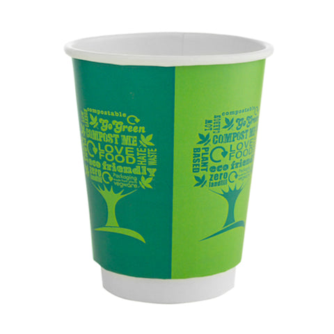 Vegware 8 oz Double wall Green Tree compostable cups x 100