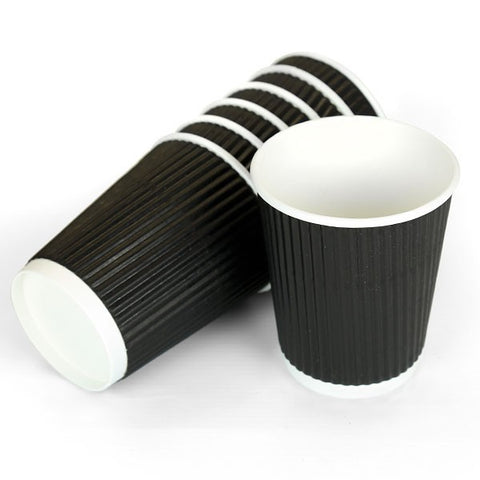 8 OZ  RIPPLE BLACK PAPER CUPS  X 500