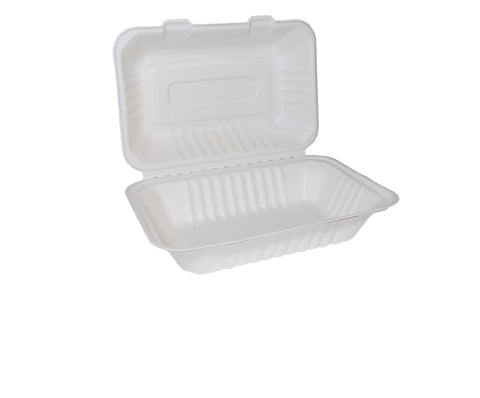Bagasse Clamshell Large  9x6 inch x 250