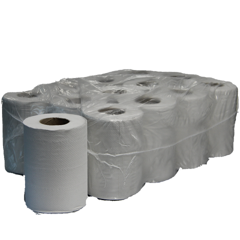WHITE MINI CENTRE FEED ROLLS 2 PLY X 12