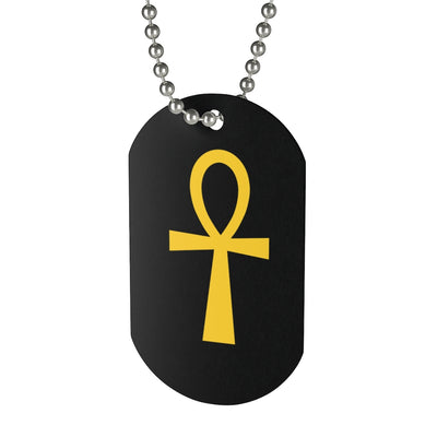 Golden Ankh Dog Tag Necklace
