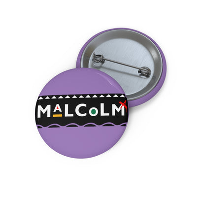 Purple 90s Style Malcolm X Pin Button