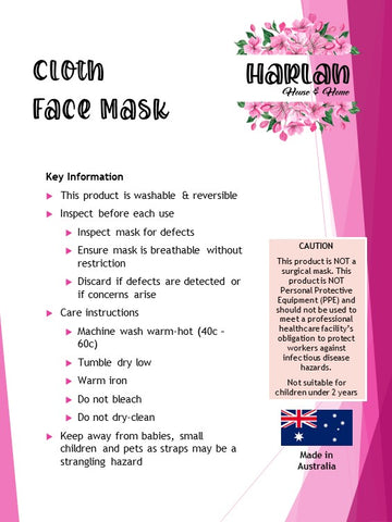 Harlan House and Home Face Cloth Mask Information Sheet