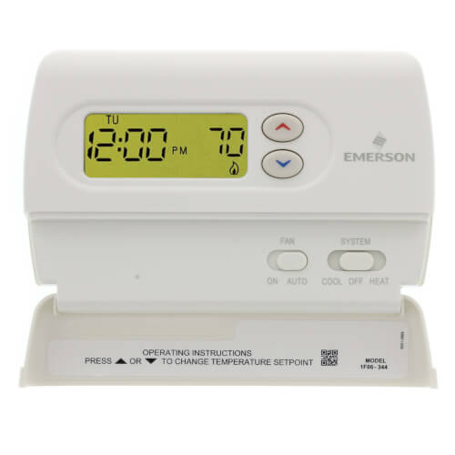 White-Rodgers 1F86-344 24v/Millivolt Single Two Wire Stage Digital Non Programmable Thermostat For Conventional / Heat Pump Applications, Battery Powered Or Hardwired 1H-1C 45-90F