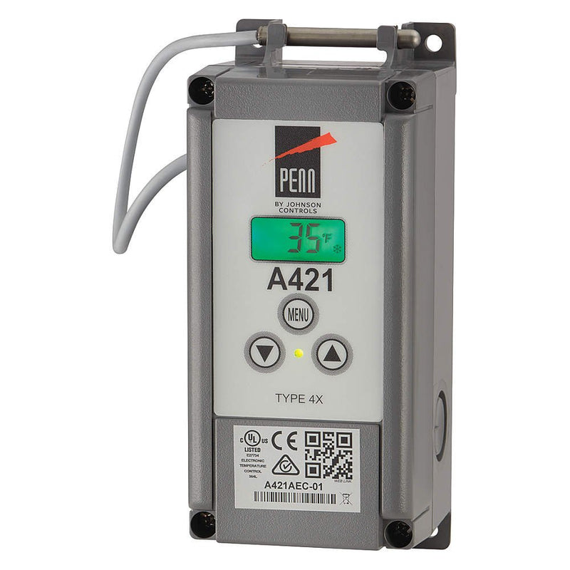 Johnson Controls A421GEF-02C Penn Series A421 Low-Voltage Type 4X Electronic Temperature Control,  Includes an A99BB-200C Temperature Sensor