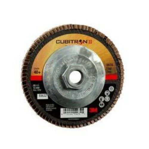 "3M 55632 - Cubitron II 967A Type 27 Flap Disc, 4-1/2"" (Giant) x 5/8-11, 40+ Grit, Precision Shaped Ceramic Grain"