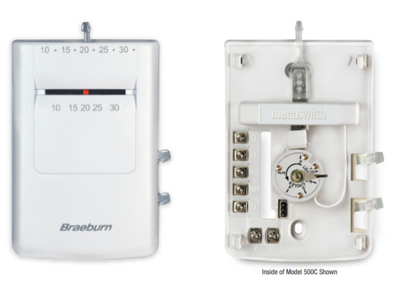 Braeburn 505C HEAT ONLY Mechanical Thermostat - Celsius